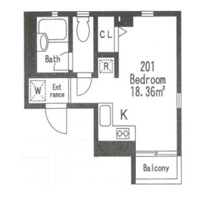 港區六本木-1R公寓大廈 房間格局