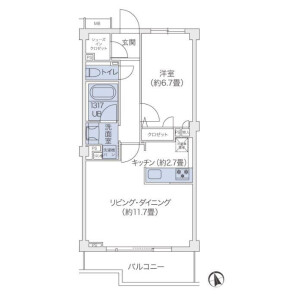 1LDK 맨션 in Hachiyamacho - Shibuya-ku Floorplan