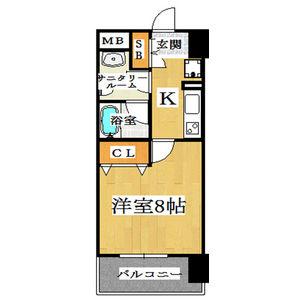 1K Mansion in Higashishinsaibashi - Osaka-shi Chuo-ku Floorplan