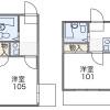 在世田谷区内租赁1K 公寓大厦 的 楼层布局