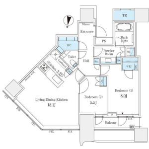 2LDK Mansion in Udagawacho - Shibuya-ku Floorplan