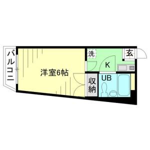 川崎市多摩区 生田 1K マンション 間取り