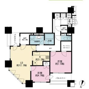2LDK Mansion in Shiba(4.5-chome) - Minato-ku Floorplan