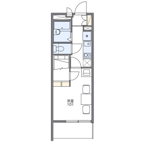 1K Mansion in Katakasu - Fukuoka-shi Hakata-ku Floorplan