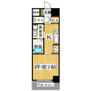 大阪市中央区 島之内 1K マンション 間取り