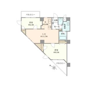 涩谷区恵比寿-2LDK{building type} 楼层布局