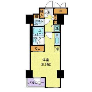 1R Mansion in Misuji - Taito-ku Floorplan