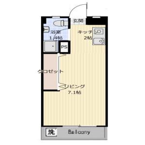 1R Mansion in Gyotokuekimae - Ichikawa-shi Floorplan