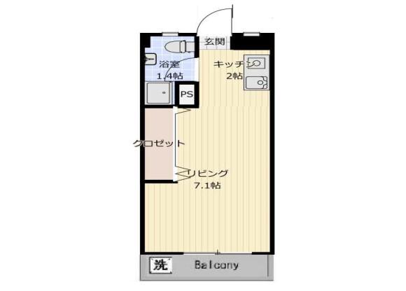 1R Apartment to Rent in Ichikawa-shi Floorplan