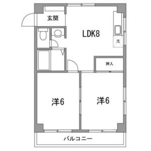 2LDK Mansion in Morishita - Koto-ku Floorplan