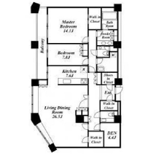 2SLDK Mansion in Kamimeguro - Meguro-ku Floorplan