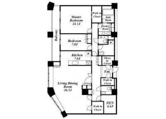 2SLDK Apartment to Rent in Meguro-ku Floorplan