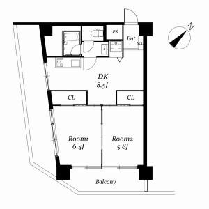 2DK Mansion in Higashiikebukuro - Toshima-ku Floorplan