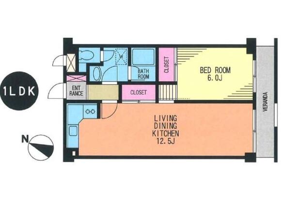 在世田谷区内租赁1LDK 公寓大厦 的 楼层布局