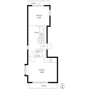 2K Mansion in Aobadai - Meguro-ku Floorplan