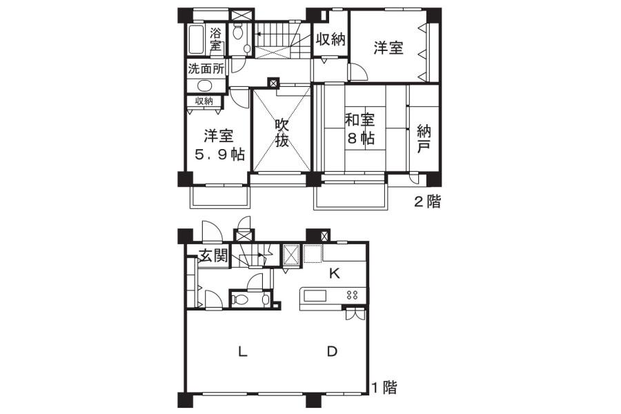 3SLDK Apartment to Rent in Kawasaki-shi Takatsu-ku Floorplan