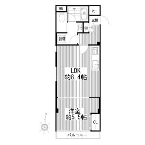 1LDK {building type} in Kitashinagawa(5.6-chome) - Shinagawa-ku Floorplan