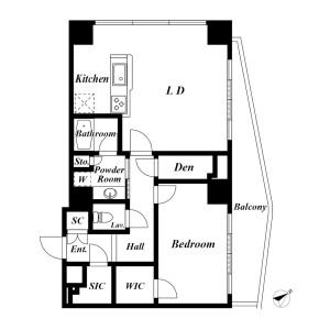 1SLDK {building type} in Roppongi - Minato-ku Floorplan
