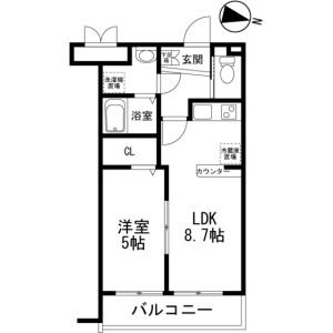 1LDK Mansion in Konakadai - Chiba-shi Inage-ku Floorplan