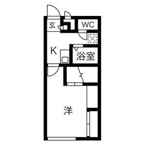 1K Apartment in Oguracho - Tokoname-shi Floorplan