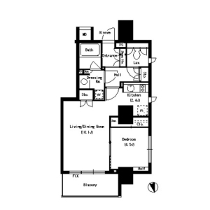 1LDK Mansion in Suidocho - Shinjuku-ku Floorplan