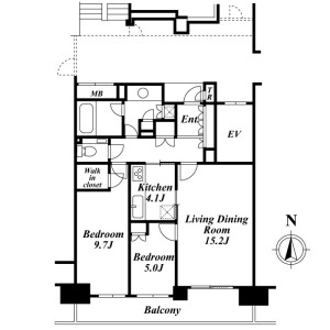2LDK Mansion in Fukasawa - Setagaya-ku Floorplan