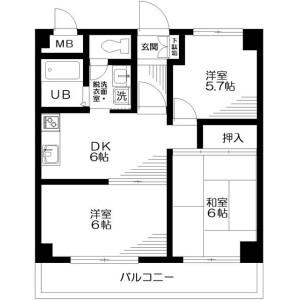 町田市能ケ谷町-3DK公寓大厦 楼层布局