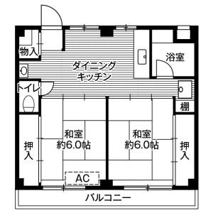 鎌ケ谷市東道野辺-2DK公寓大廈 房間格局