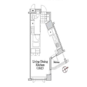 1R Mansion in Motoazabu - Minato-ku Floorplan