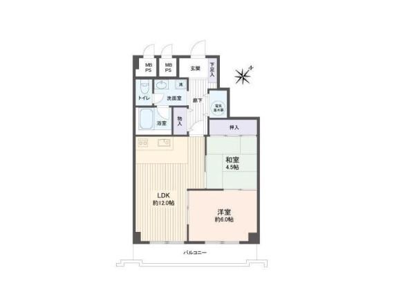 在札幌市西区购买2LDK 公寓大厦的 楼层布局