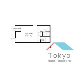 世田谷區池尻-1R公寓 房間格局