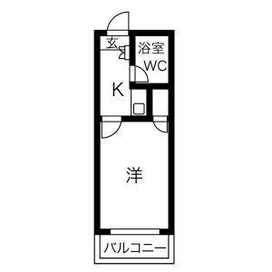 1K Apartment in Hommachi - Iwakura-shi Floorplan