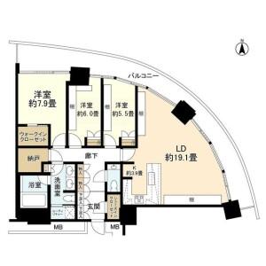 橫濱市西區みなとみらい-3LDK公寓大廈 房間格局