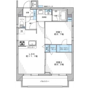 2LDK Mansion in Hyakunincho - Shinjuku-ku Floorplan