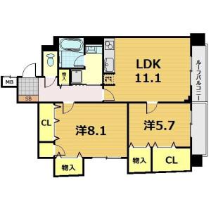 2LDK Mansion in Ueno - Taito-ku Floorplan