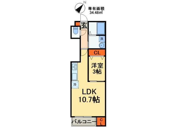 1LDK Apartment to Rent in Chiba-shi Hanamigawa-ku Floorplan