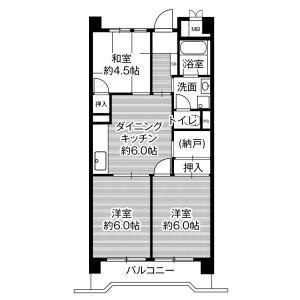 3DK Mansion in Minatojima - Kobe-shi Chuo-ku Floorplan