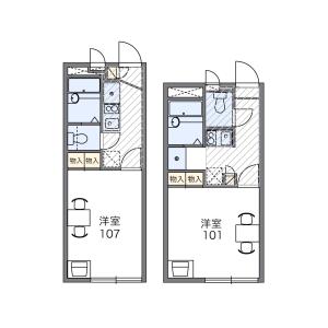さいたま市北区 盆栽町 1K アパート 間取り