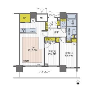 2LDK {building type} in Shikitsuhigashi - Osaka-shi Naniwa-ku Floorplan