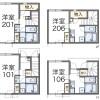 在福岡市博多区内租赁1K 公寓 的 楼层布局