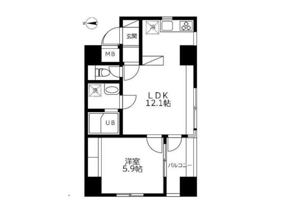 1LDK Apartment to Buy in Chuo-ku Floorplan