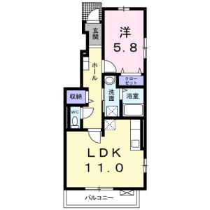 1LDK Apartment in Numabukuro - Nakano-ku Floorplan