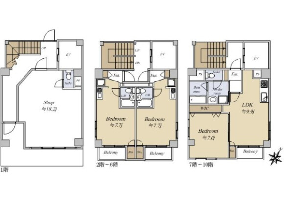 Whole Building Apartment to Buy in Chuo-ku Floorplan