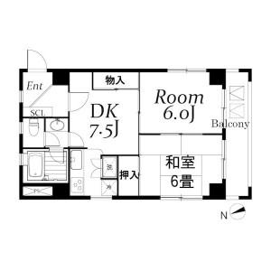 江户川区西葛西-2DK公寓大厦 楼层布局