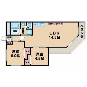 2LDK Mansion in Minamitanabe - Osaka-shi Higashisumiyoshi-ku Floorplan