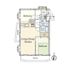2LDK Apartment to Buy in Meguro-ku Floorplan