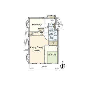 2LDK {building type} in Megurohoncho - Meguro-ku Floorplan