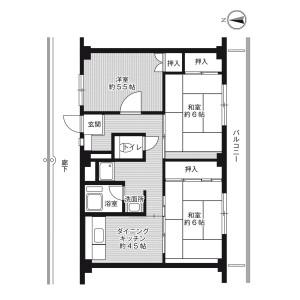 3DK Mansion in Kasuga higashimachi - Hirakata-shi Floorplan