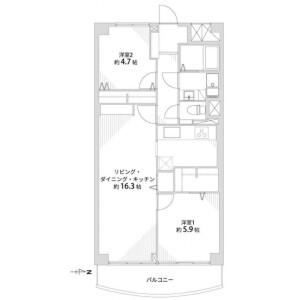 2LDK {building type} in Chudoji mibugawacho - Kyoto-shi Shimogyo-ku Floorplan