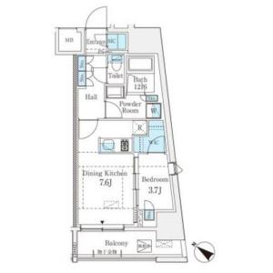 澀谷區東-1DK公寓大廈 房間格局